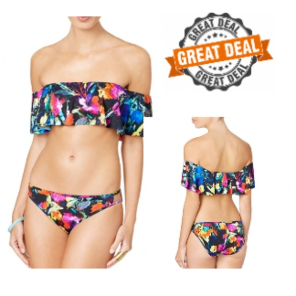 NWT Bar III Swimsuit Bikini Bra Top Size M Painted Posies Halter